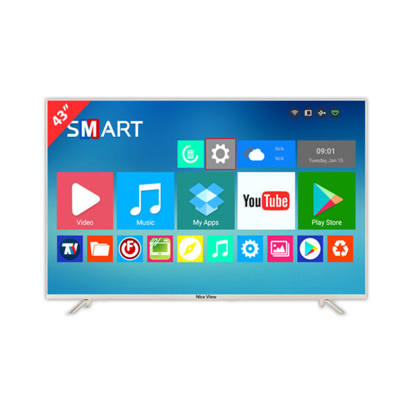 """Nice View 43"""" 4K Smart Android Metal Body Double Glass LED TV"""